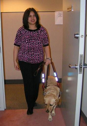 Image of guide dog Yaro with owner, Joy Atin-Shark